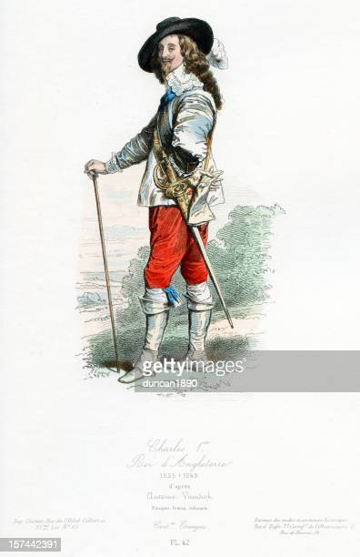 king charles the first of england - king royal person stock illustrations