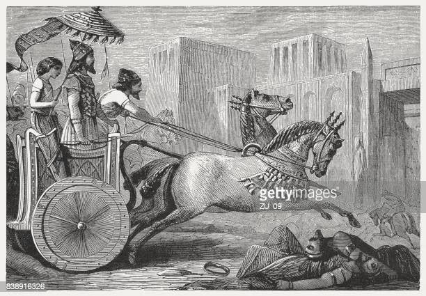 king cyrus ii entry into a conquered town, published 1886 - ancient babylon stock illustrations