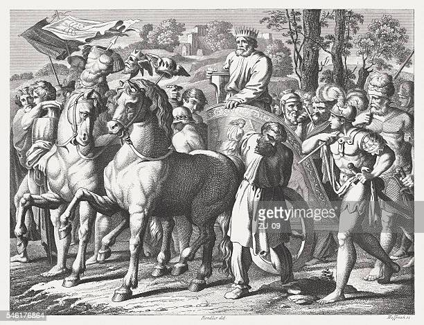 king david with the war spoils (2 samuel 8) - weaponry stock illustrations