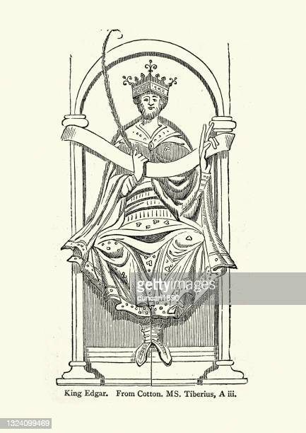 king edgar the peaceful, anglo saxon king of the english - historical clothing stock illustrations