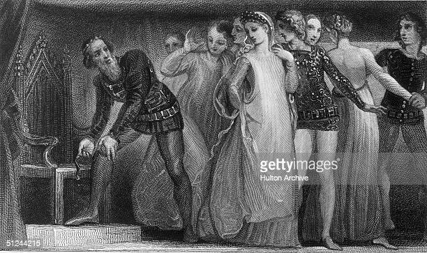 King Edward III picks up a garter dropped by a lady in court and ties it around his own leg, in what is reputed to be the origin of the Most Noble...