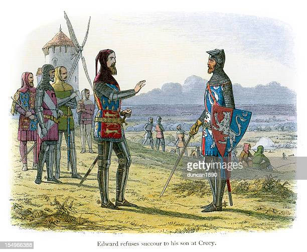 king edward iii refuses to help his son at crecy - hundred years war stock illustrations, clip art, cartoons, & icons
