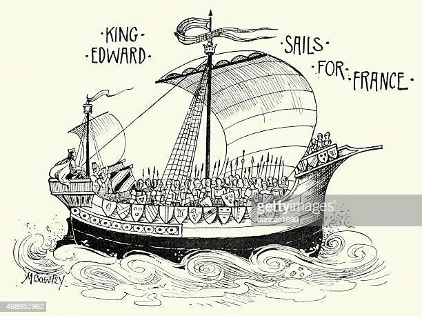 king edward iii segel, frankreich - kriegsschiff stock-grafiken, -clipart, -cartoons und -symbole