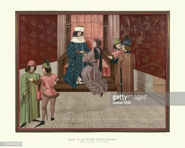king edward iv of england with richard duke of gloucester - king royal person stock illustrations