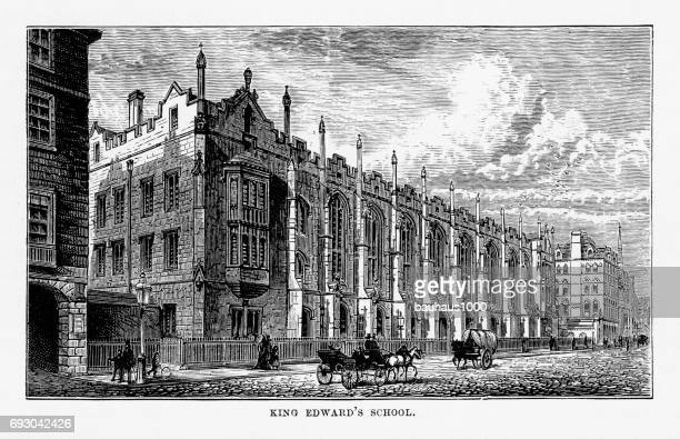 King Edward's School, Birmingham, Midlands, England Victorian Engraving, 1840