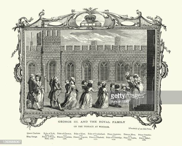 ilustraciones, imágenes clip art, dibujos animados e iconos de stock de el rey jorge iii y la familia real, en la terraza de windsor - windsor distrito real de windsor y maidenhead