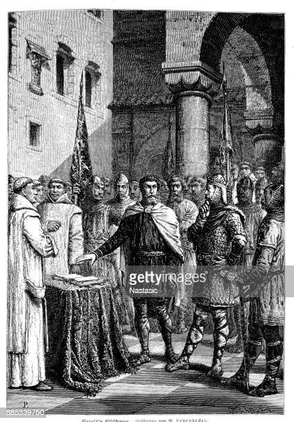 king harold ii (c.1022 – 1066), aka harold godwinson, swears an oath on a holy relic, pledging his allegiance to william of normandy (later william the conqueror), france, 1064 - normandy stock illustrations, clip art, cartoons, & icons