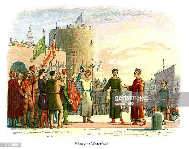 king henry ii at waterford - county waterford ireland stock illustrations
