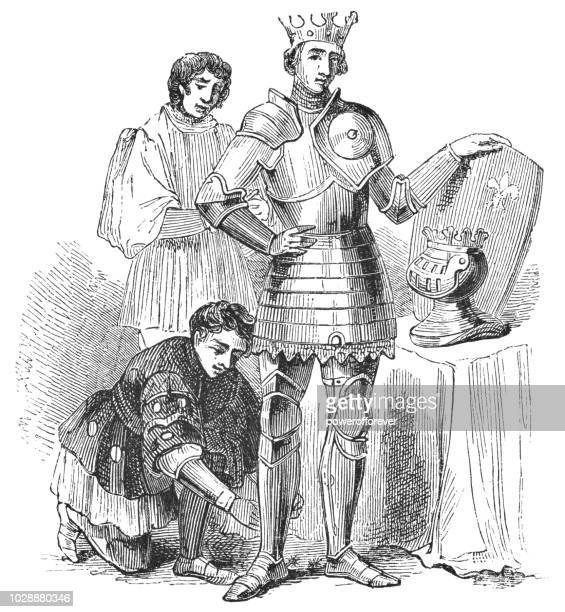 king henry v being dressed in armor by his squires - henry v of england stock illustrations, clip art, cartoons, & icons