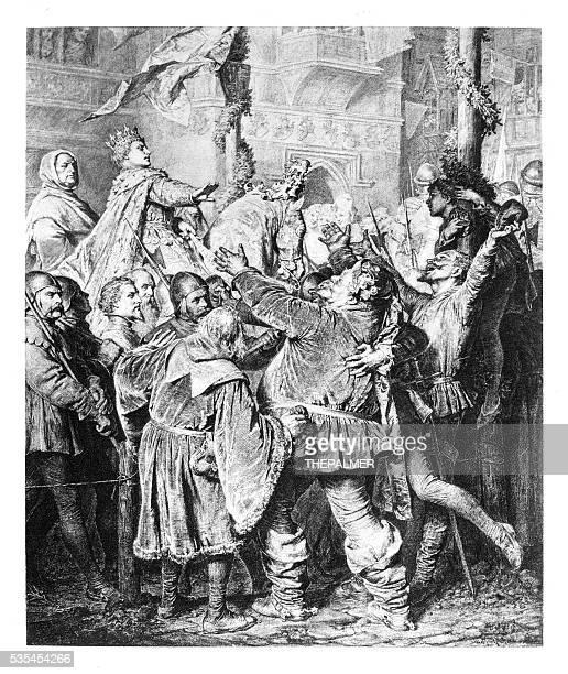king henry v engraving 1894 - henry v of england stock illustrations, clip art, cartoons, & icons