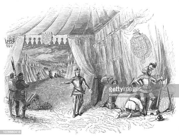 king henry v wanders the army camp before the battle of agincourt - works of william shakespeare - henry v of england stock illustrations, clip art, cartoons, & icons
