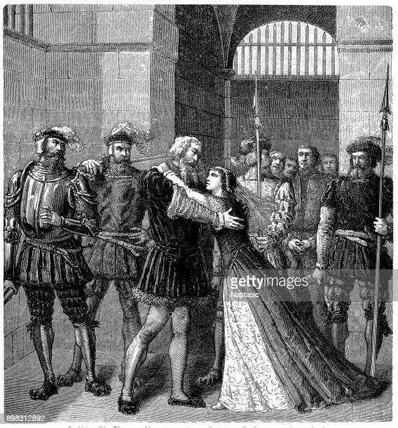 king henry viii brings anne boleyn to cardinal wolsey - anne boleyn stock illustrations