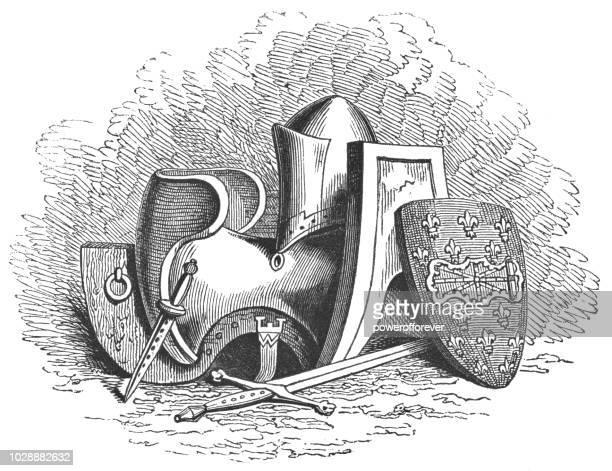 king henry v's helmet, shield and saddle - henry v of england stock illustrations, clip art, cartoons, & icons