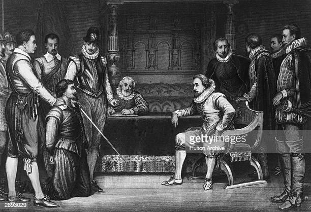 King James I interrogates Guy Fawkes about his part in the gunpowder plot to blow up Parliament, 1605. Engraved after a painting by J Ralston.