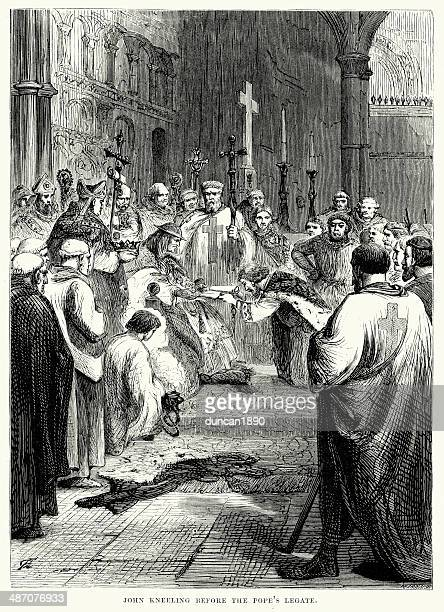 king john before the papal legate - religious dress stock illustrations, clip art, cartoons, & icons