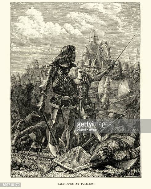 king john ii of france at the battle of poitiers - hundred years war stock illustrations, clip art, cartoons, & icons