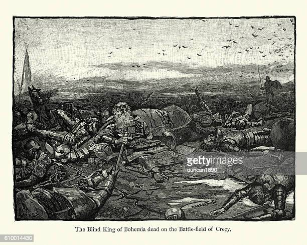 king john of bohemia dead on the battlefield of crecy - hundred years war stock illustrations, clip art, cartoons, & icons
