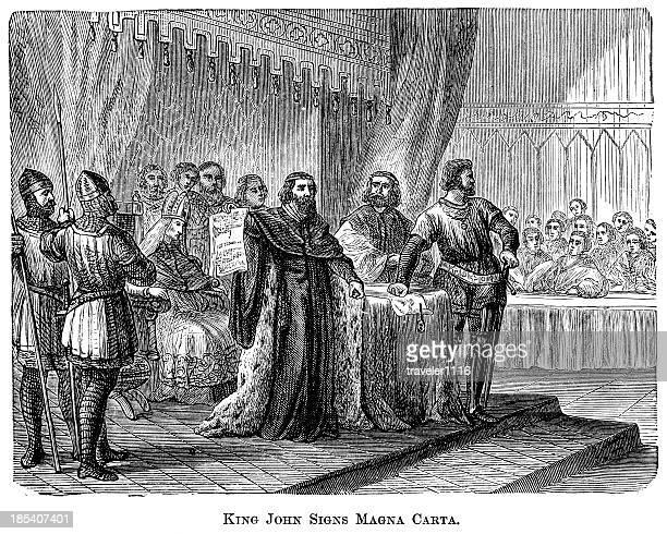 king john signs the magna carta - bill of rights stock illustrations