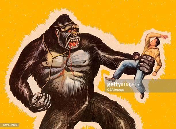 stockillustraties, clipart, cartoons en iconen met king kong holding man - monster fictional character