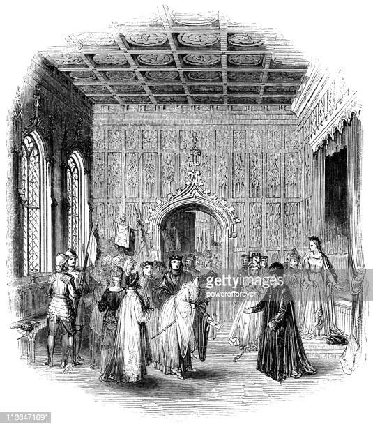 King Louis XI Giving Richard Neville the Earl of Warwick Refuge at the Chateau d'Amboise in France - Works of William Shakespeare