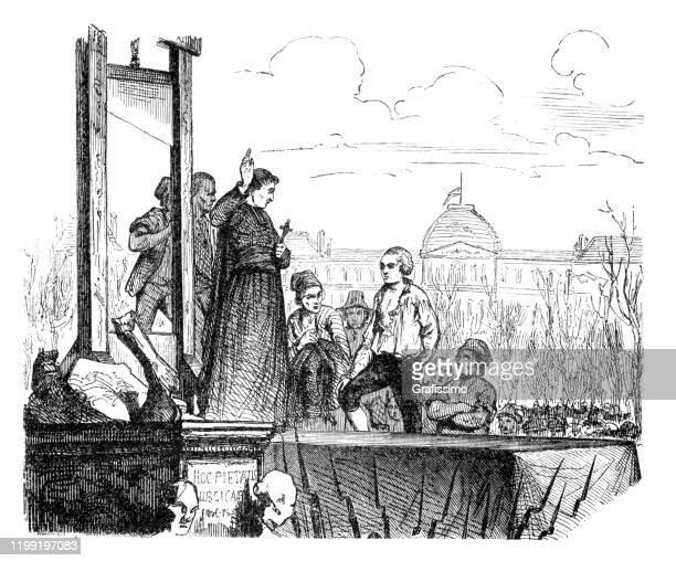 ilustraciones, imágenes clip art, dibujos animados e iconos de stock de rey luis xvi de francia ejecución parís ilustración 1793 - ejecución pública