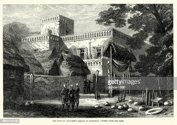 king of ashanti's palace at kumasi, 19th century - ghana stock illustrations, clip art, cartoons, & icons