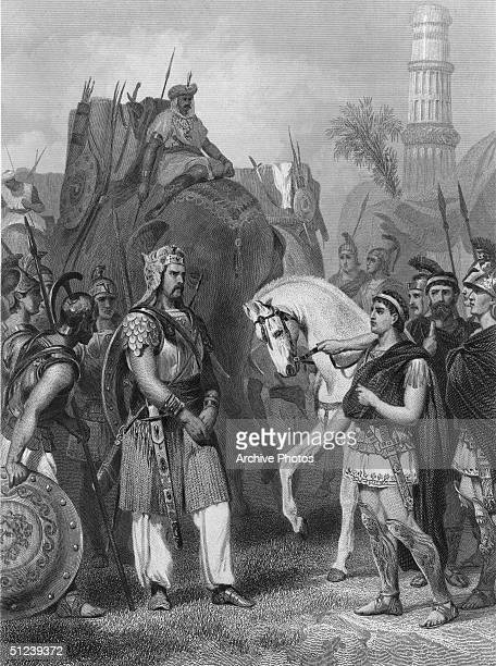King Porus surrenders to Alexander the Great at the Battle of Hydaspes in an engraving entitled, 'Surrender of Porus to the Emperor Alexander'....