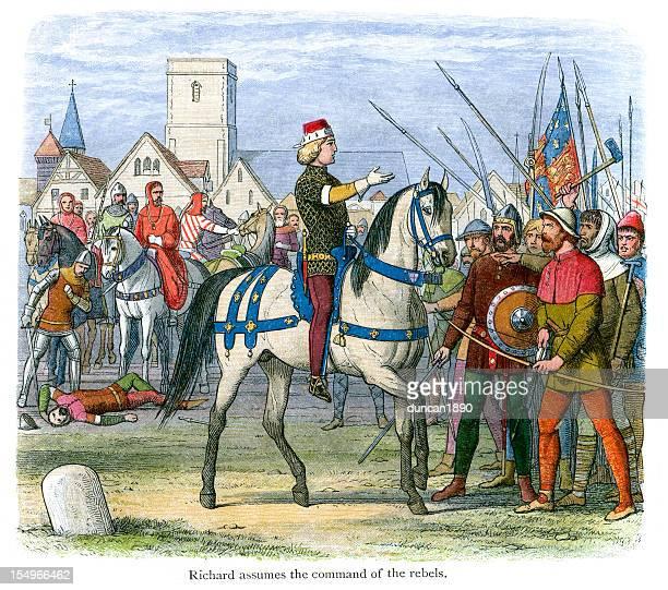 ilustrações, clipart, desenhos animados e ícones de king richard ii assume o comando dos rebeldes - reforma assunto