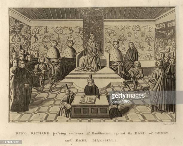 king richard ii banishing earl of derby and earl marshall - circa 14th century stock illustrations