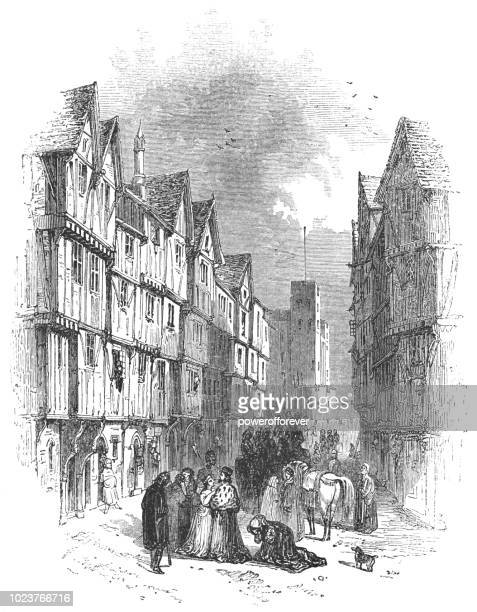 king richard ii on a street in london, england - works of william shakespeare - circa 14th century stock illustrations