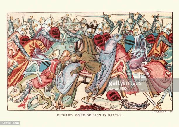 bildbanksillustrationer, clip art samt tecknat material och ikoner med kung richard lejonhjärta i strid - litografi
