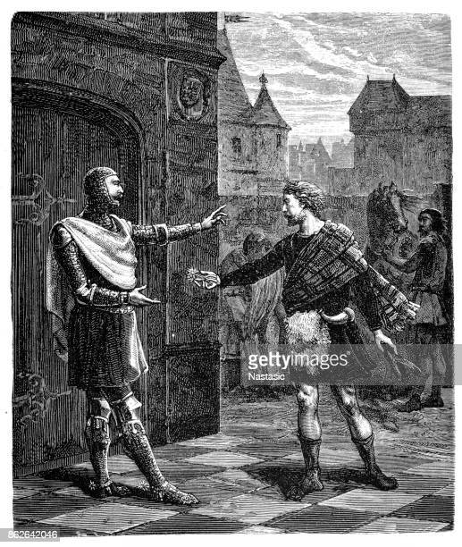 king robert bruce of scotland leaves england - circa 14th century stock illustrations, clip art, cartoons, & icons