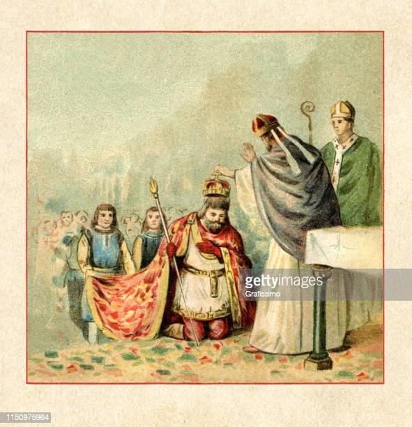 king saint stephen i of hungary at coronation - corona zon stock illustrations