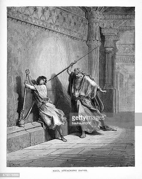 Saul attaquant David Bible avec très grand lit, gravure
