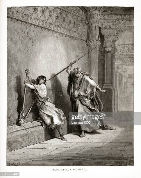 king saul attacking david biblical engraving - old testament stock illustrations