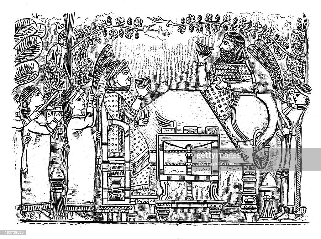 King Sennacherib (antique wood engraving) : Stock Illustration