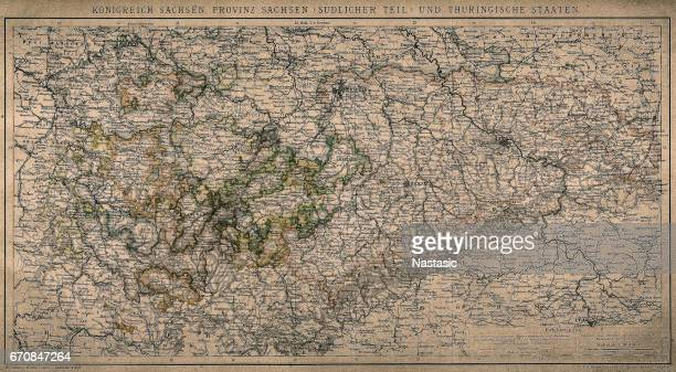 kingdom of saxony, province of saxony (southern part) and thuringian states - country geographic area stock illustrations, clip art, cartoons, & icons
