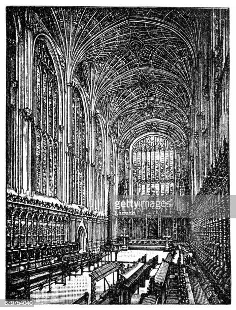 king's college chapel, cambridge - chapel stock illustrations, clip art, cartoons, & icons