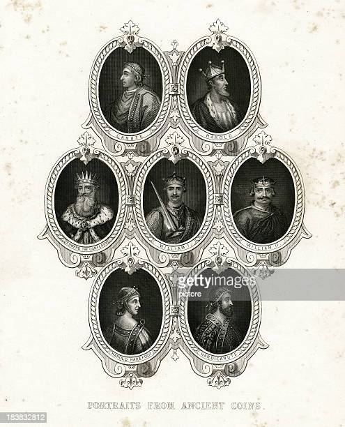 kings portraits from coins - king royal person stock illustrations