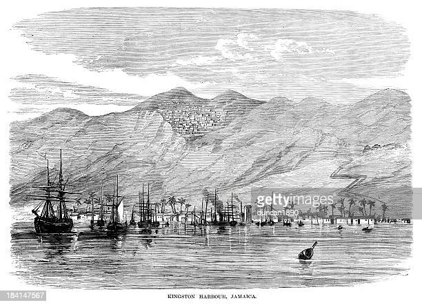 kingston harbour jamaica - jamaica stock illustrations, clip art, cartoons, & icons