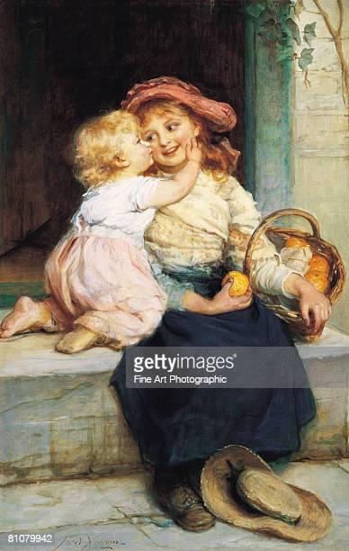 kiss for the orange seller - toddler stock illustrations
