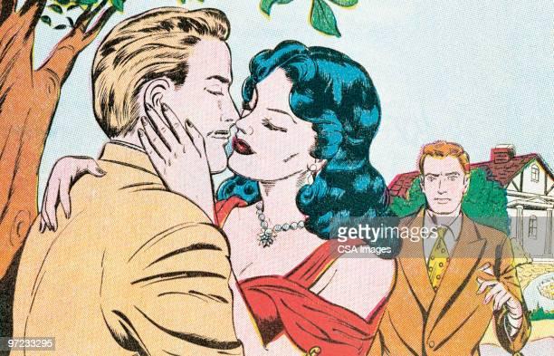 stockillustraties, clipart, cartoons en iconen met kiss - sensualiteit