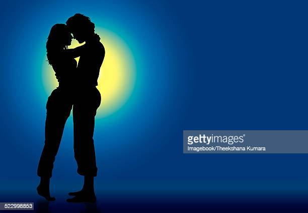 kissing in the moon-light - kissing on the mouth stock illustrations, clip art, cartoons, & icons