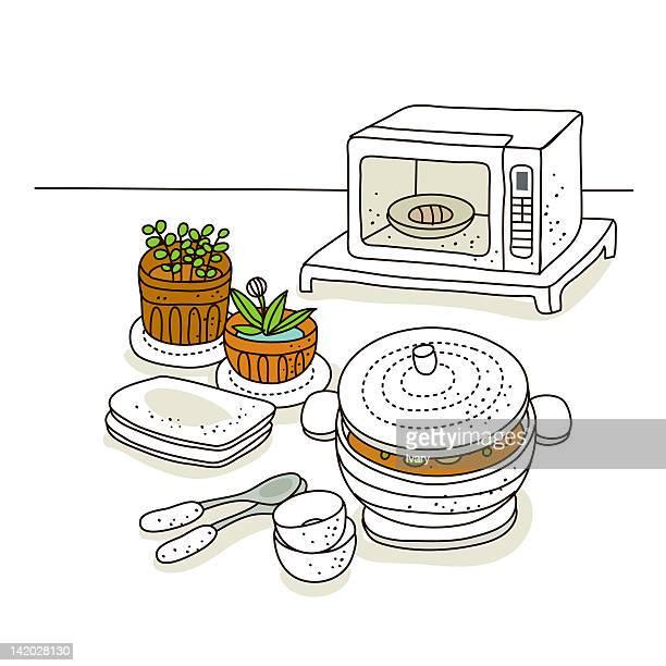 Kitchen equipments against white background