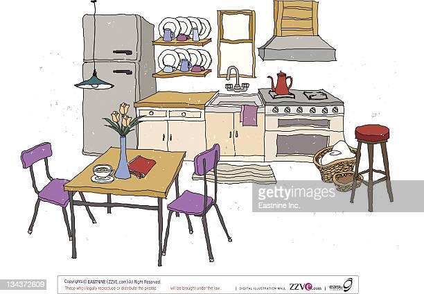 ilustraciones, imágenes clip art, dibujos animados e iconos de stock de kitchen interior - mesa de comedor