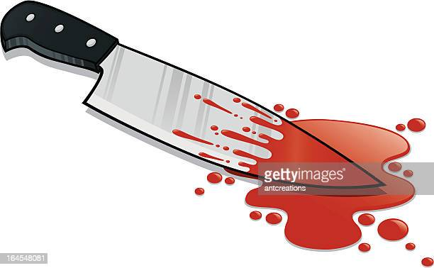kitchen knife blood stained - puddle stock illustrations, clip art, cartoons, & icons