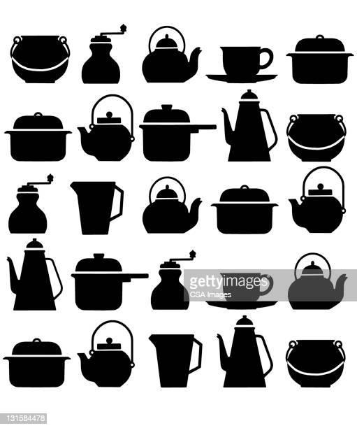 kitchen pattern - jug stock illustrations, clip art, cartoons, & icons