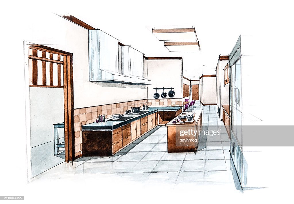 Kitchen Room For Restaurant Design Of Watercolor Painting High Res Vector Graphic Getty Images