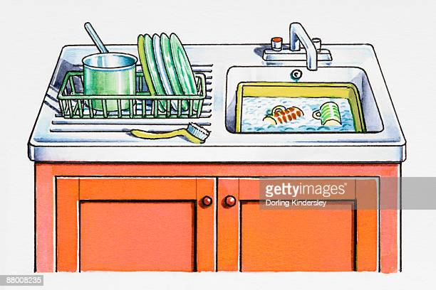 Cartoon Kitchen Sink ~ Washing dishes stock illustrations and cartoons getty images