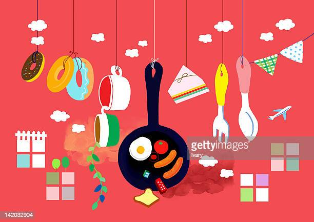 Kitchen Utensil Hanging With String On Red Background